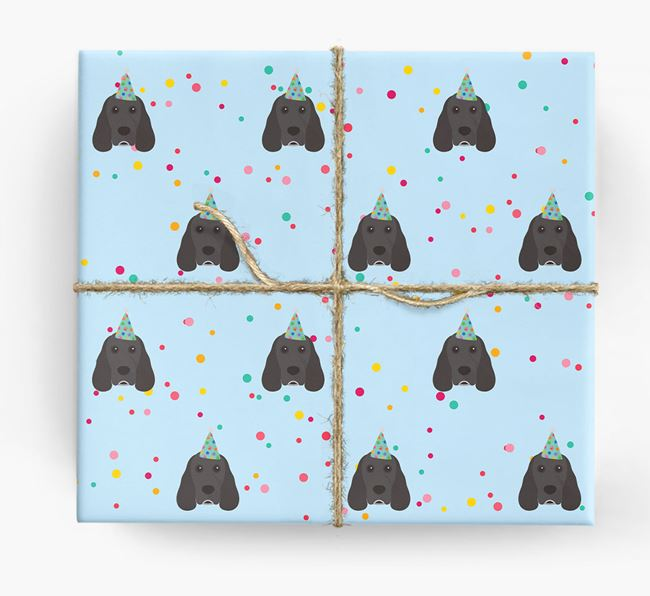 Birthday Confetti Wrapping Paper with Cocker Spaniel Icons