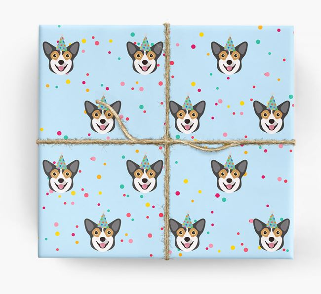 Birthday Confetti Wrapping Paper with Corgi Icons