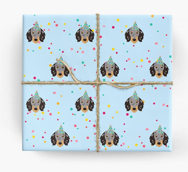 Birthday Confetti Wrapping Paper with Dachshund Icons