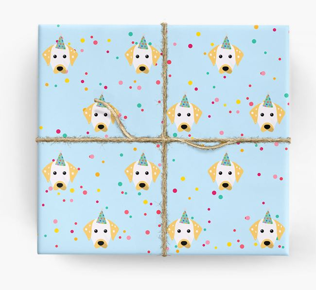 Birthday Confetti Wrapping Paper with Dalmatian Icons