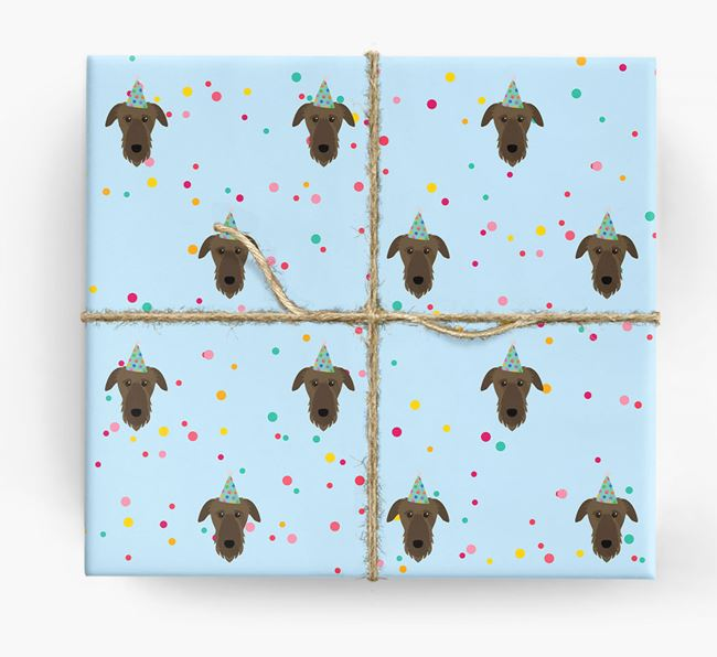Birthday Confetti Wrapping Paper with Deerhound Icons