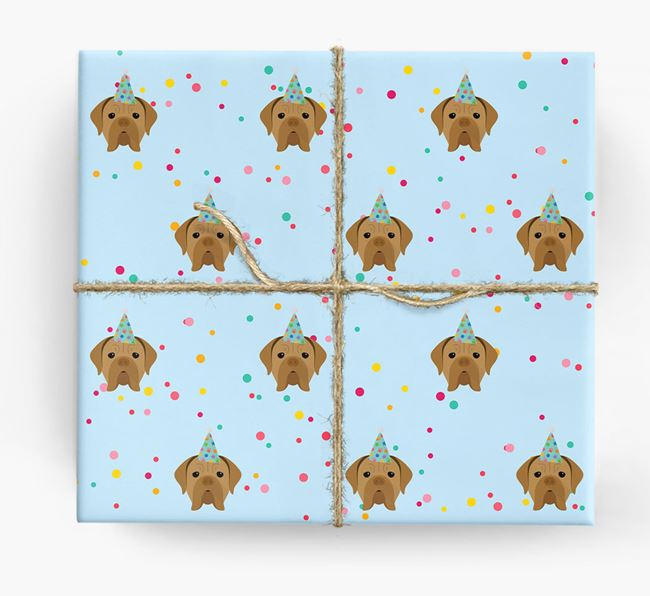 Birthday Confetti Wrapping Paper with Dogue de Bordeaux Icons
