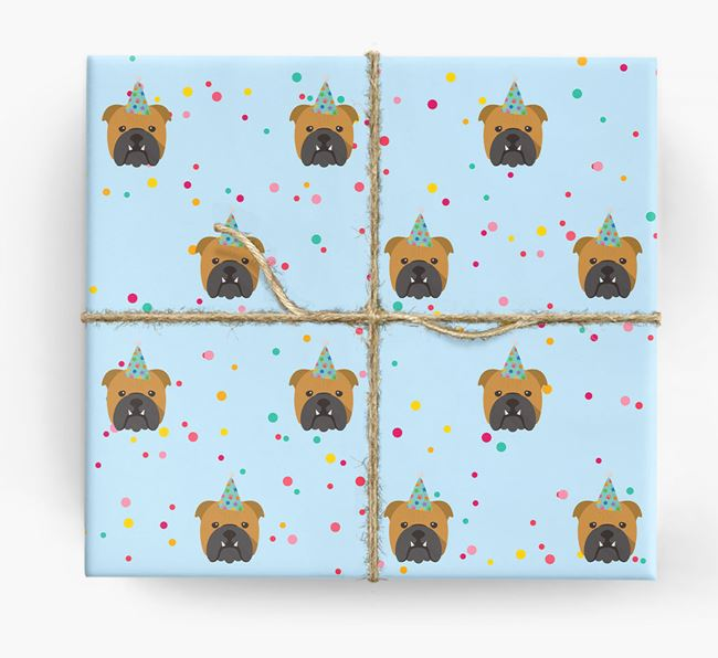 Birthday Confetti Wrapping Paper with English Bulldog Icons