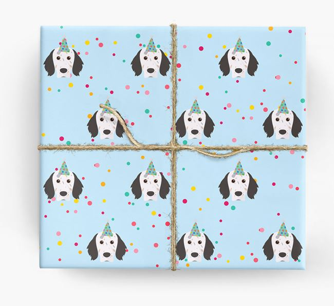 Birthday Confetti Wrapping Paper with English Setter Icons
