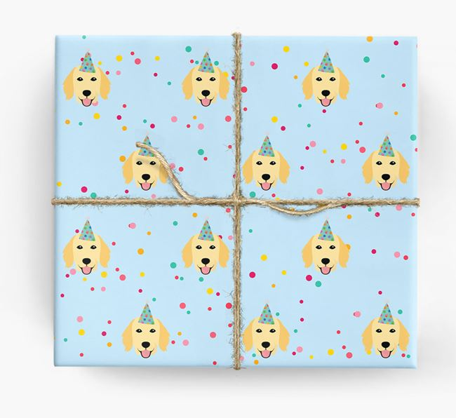 Birthday Confetti Wrapping Paper with Flat-Coated Retriever Icons