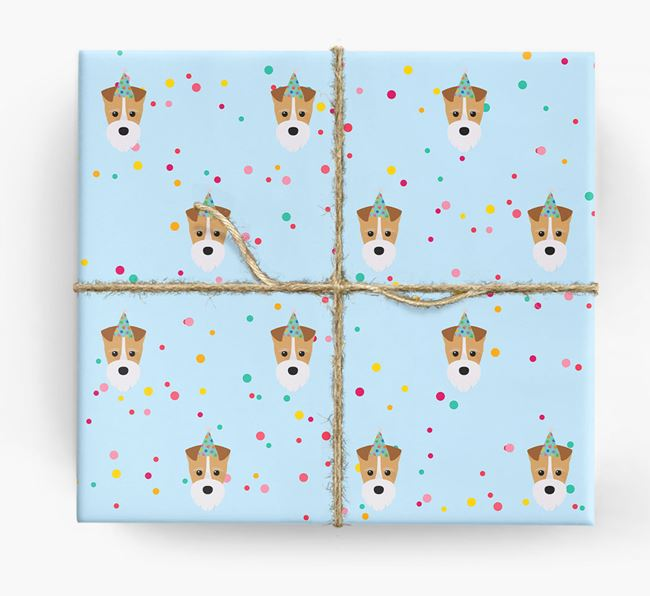 Birthday Confetti Wrapping Paper with Fox Terrier Icons