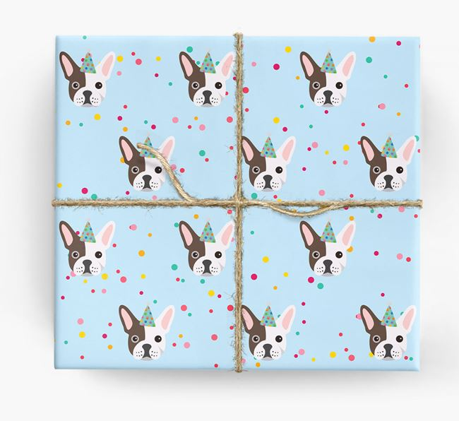 Birthday Confetti Wrapping Paper with French Bulldog Icons