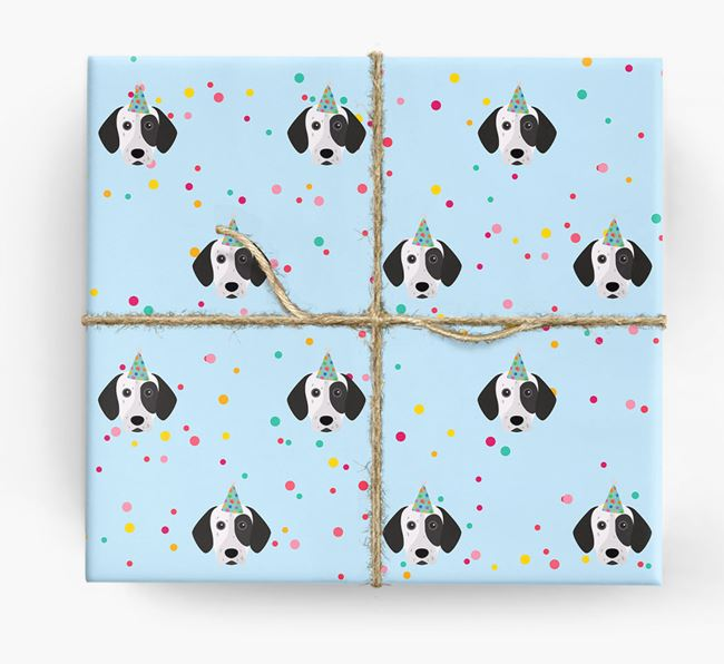 Birthday Confetti Wrapping Paper with German Shorthaired Pointer Icons
