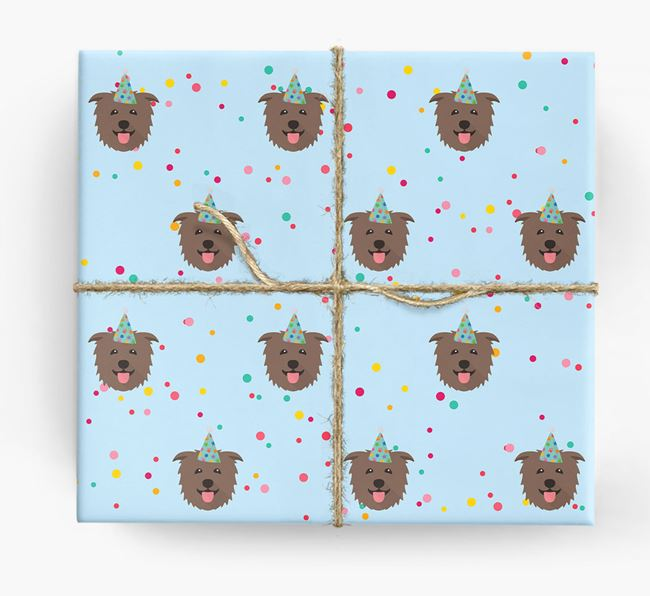 Birthday Confetti Wrapping Paper with Glen Of Imaal Terrier Icons