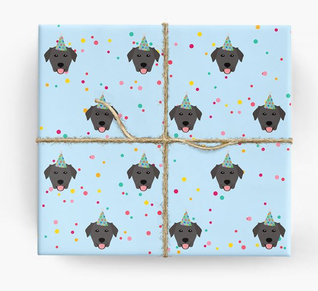 Birthday Confetti Wrapping Paper with Golden Labrador Icons