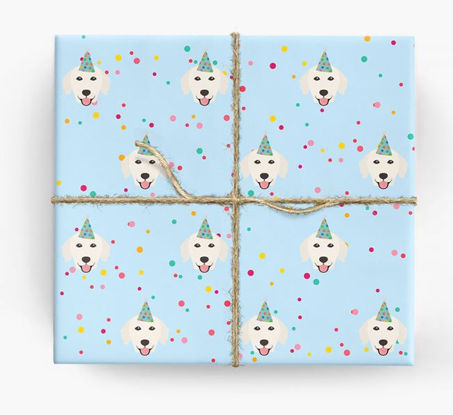 Birthday Confetti Wrapping Paper with Golden Retriever Icons