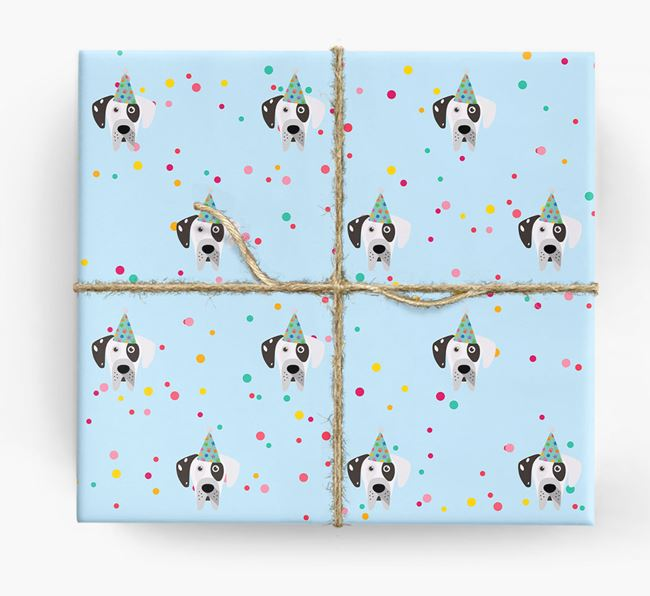 Birthday Confetti Wrapping Paper with Great Dane Icons
