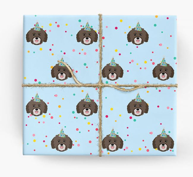 Birthday Confetti Wrapping Paper with Havanese Icons