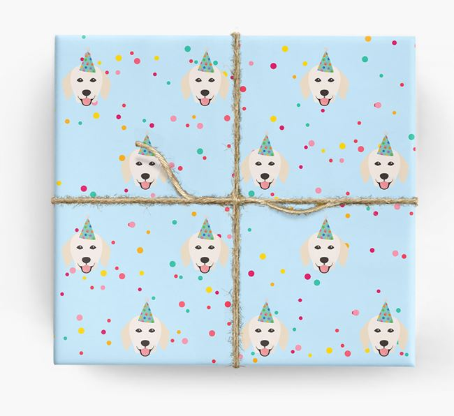 Birthday Confetti Wrapping Paper with Hungarian Kuvasz Icons