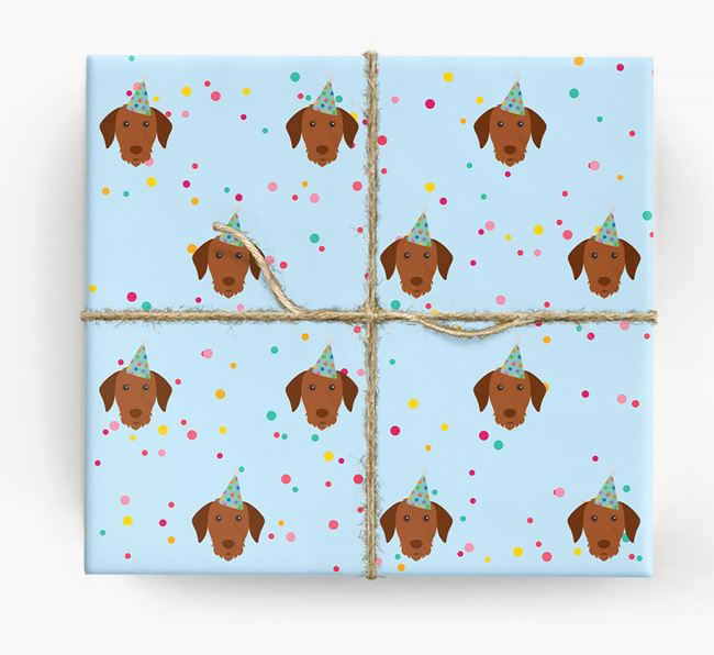 Birthday Confetti Wrapping Paper with Hungarian Vizsla Icons