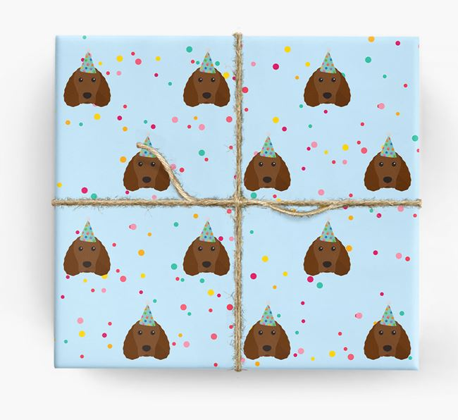 Birthday Confetti Wrapping Paper with Irish Water Spaniel Icons
