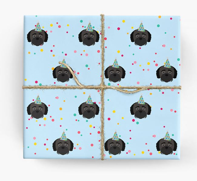 Birthday Confetti Wrapping Paper with Jack-A-Poo Icons