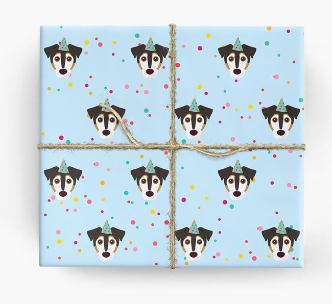 Birthday Confetti Wrapping Paper with Jack Russell Terrier Icons