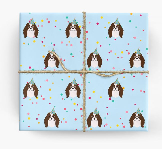 Birthday Confetti Wrapping Paper with Japanese Chin Icons