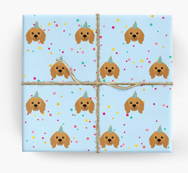 Birthday Confetti Wrapping Paper with King Charles Spaniel Icons