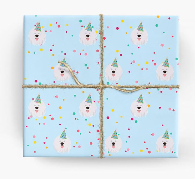 Birthday Confetti Wrapping Paper with Komondor Icons