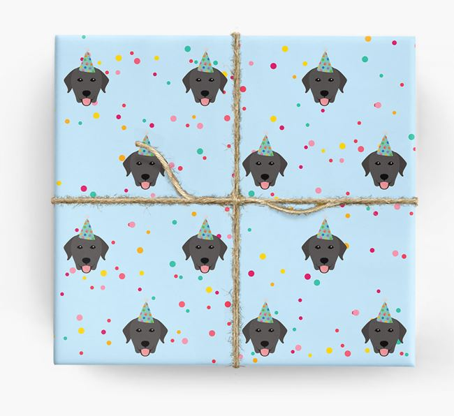 Birthday Confetti Wrapping Paper with Labrador Retriever Icons