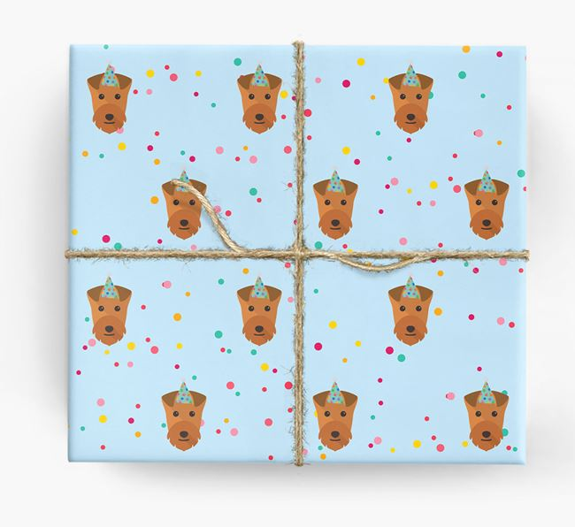 Birthday Confetti Wrapping Paper with Lakeland Terrier Icons