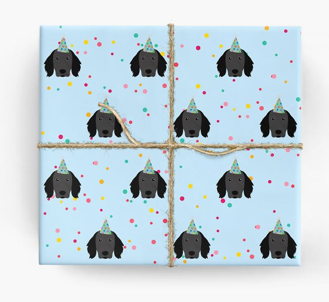 Birthday Confetti Wrapping Paper with Large Munsterlander Icons