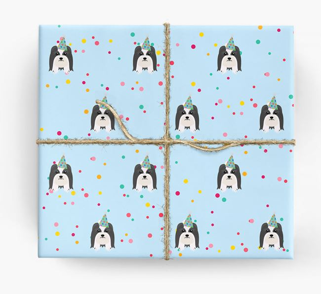 Birthday Confetti Wrapping Paper with Lhasa Apso Icons