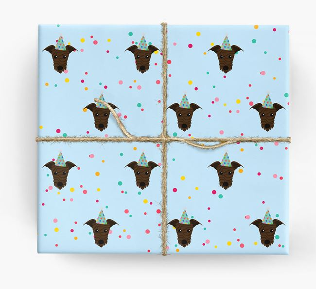 Birthday Confetti Wrapping Paper with Lurcher Icons