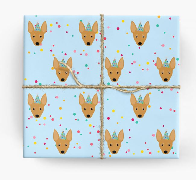 Birthday Confetti Wrapping Paper with Miniature Pinscher Icons