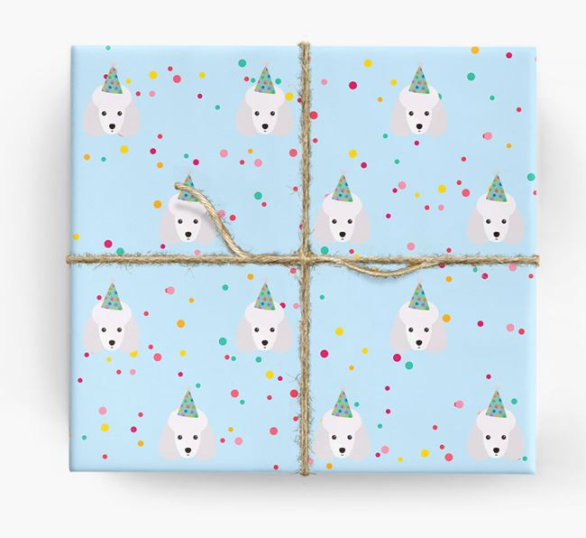 Birthday Confetti Wrapping Paper with Miniature Poodle Icons