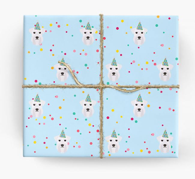 Birthday Confetti Wrapping Paper with Miniature Schnauzer Icons