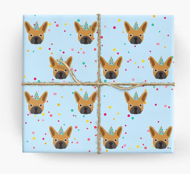 Birthday Confetti Wrapping Paper with Mixed Breed Icons