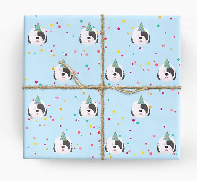 Birthday Confetti Wrapping Paper with Old English Sheepdog Icons