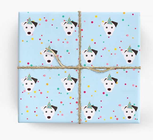 Birthday Confetti Wrapping Paper with Parson Russell Terrier Icons