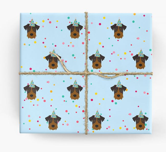 Birthday Confetti Wrapping Paper with Patterdale Terrier Icons