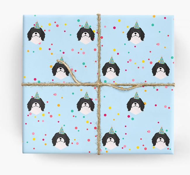 Birthday Confetti Wrapping Paper with Pekingese Icons