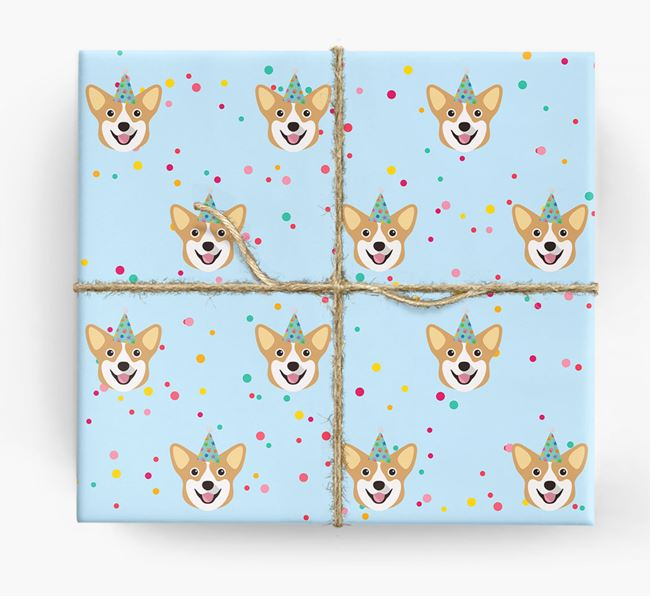 Birthday Confetti Wrapping Paper with Pembroke Welsh Corgi Icons