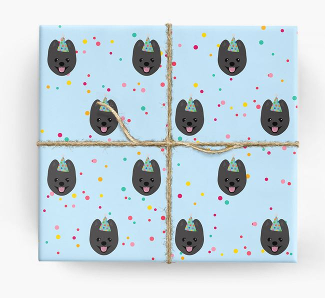 Birthday Confetti Wrapping Paper with Pomeranian Icons