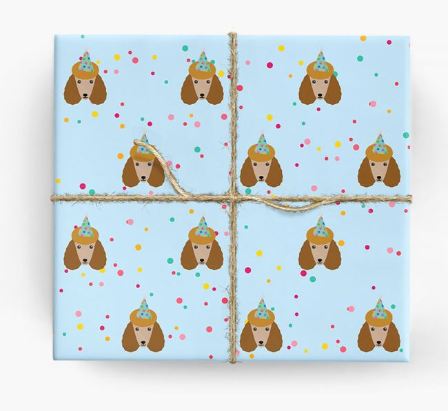 Birthday Confetti Wrapping Paper with Poodle Icons