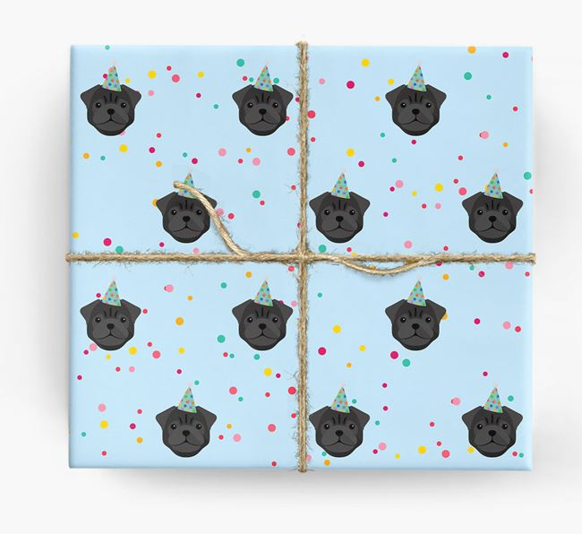 Birthday Confetti Wrapping Paper with Pug Icons