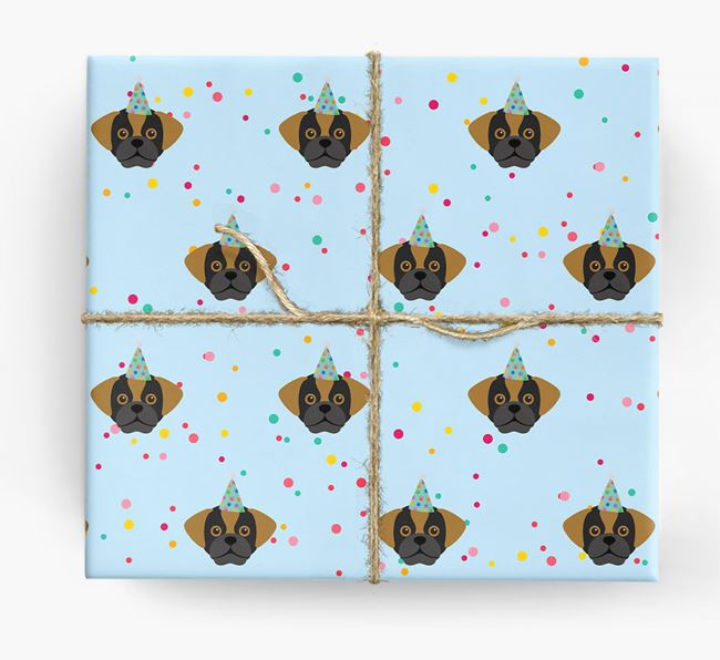 Birthday Confetti Wrapping Paper with Puggle Icons