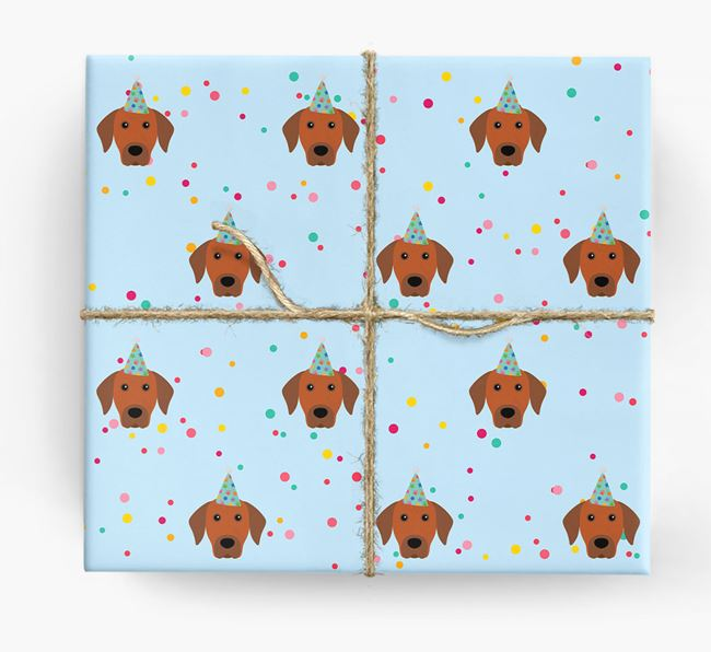 Birthday Confetti Wrapping Paper with Rhodesian Ridgeback Icons