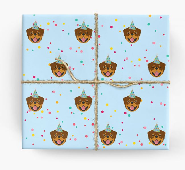 Birthday Confetti Wrapping Paper with Rottweiler Icons