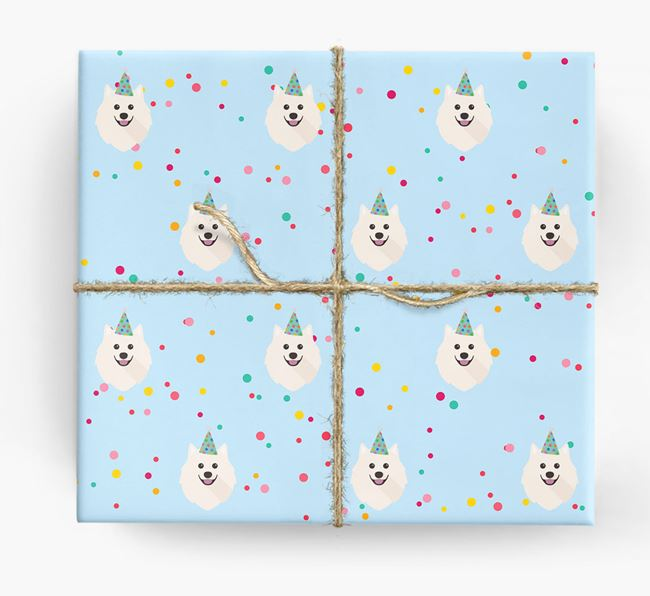 Birthday Confetti Wrapping Paper with Samoyed Icons