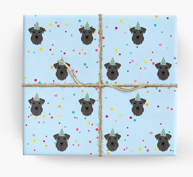Birthday Confetti Wrapping Paper with Schnauzer Icons