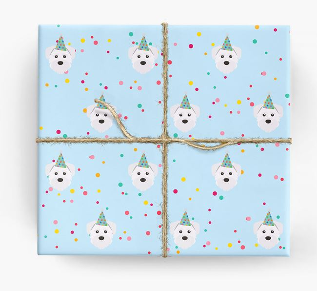 Birthday Confetti Wrapping Paper with Schnoodle Icons