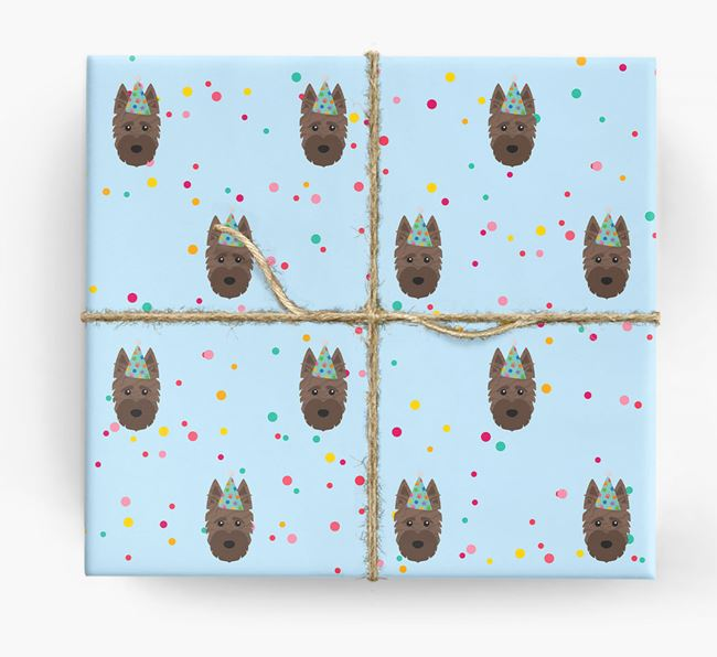 Birthday Confetti Wrapping Paper with Scottish Terrier Icons