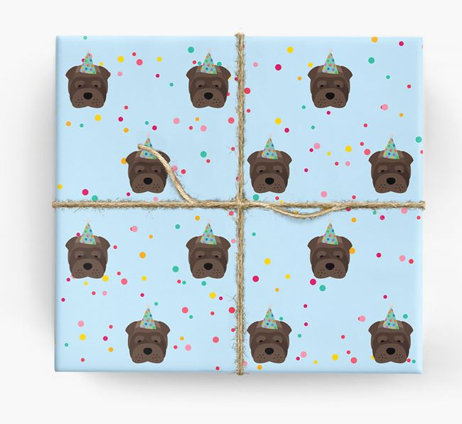 Birthday Confetti Wrapping Paper with Shar Pei Icons